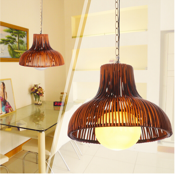 American rural-style bamboo art hand-made pendant light Europe vintage classic nostagic lamp for vestibule&corridor&porch LDK005 southeast asia style hand knitting bamboo art pendant lights modern rural e27 led lamp for porch