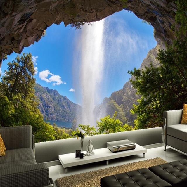 Custom 3d Photo Wallpaper Cave Waterfall Natural Landscape