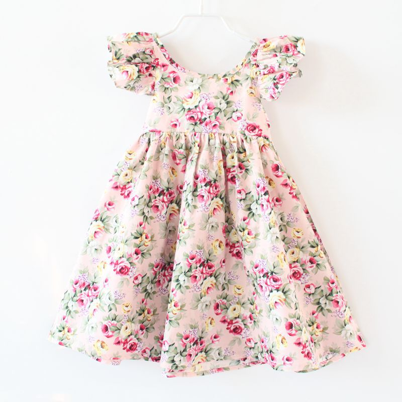 3f279583bd9 Baby Girls Rose Floral Print Dress Ruffles Candy Color Fashion Backless Party  Dresses Children Summer Cotton Clothes-in Dresses from Mother   Kids on ...