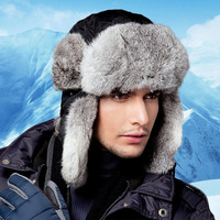 Men's Bomber Hats Real Rabbit Fur Winter Real Fur Trapper Hats Russian Snow Beanies Ear Caps Outdoor Bomber Hats