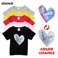 e5a82ee68 Camiseta corazón para las chicas cambiando lentejuelas T camisa chicas  brillo niños T camisa verano adolescente