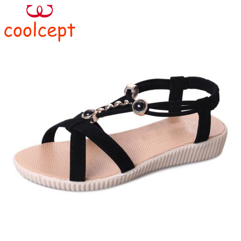 Coolcept Women Gladiator Sandals String Bead Flats Shose Daily Summer Elegant Party Shose Women Club Retro Footwear Size 36-40