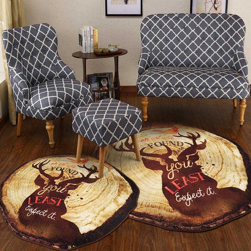 Rétro anneau annuel tapis rond style nordique élans imprimé tapis et tapis chambre thé table étude salle ordinateur chaise tapis de sol