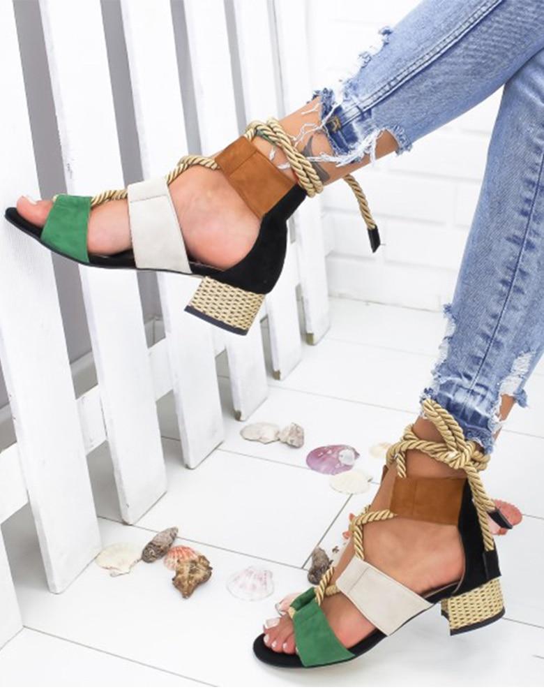 HTB1NVS1aRCw3KVjSZFuq6AAOpXaV Women Sandals 2019 Women Heels Shoes For Gladiator Sandals Women High Heels Summer Shoes Woman Lace Up Peep Toe Chaussures Femme