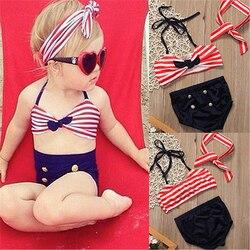 2017 Детский костюм бикини для маленьких девочек, морской купальный костюм, одежда для купания, купальный костюм, летняя пляжная одежда для де... 2