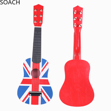 "SOACH high-quality professional children's toys guitar red British flag 21 ""acoustic music 6 steel string bass guitar"