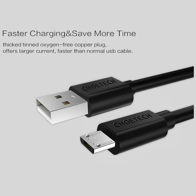 [Original Micro USB Cable]CHOETECH 5V 2.4A Micro USB 2.0 Fast Charging Data Cable 1M 0.5M for Mobile Phone and Tablets-Black