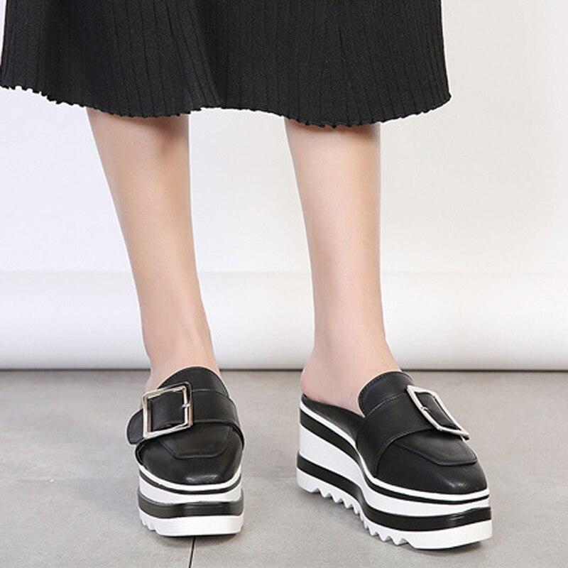 Bout Femmes Mocassins Chaussures Mules Sur Casual White Sandales Glissent forme Diapositives black Dames Boucle Carré Coins Plate Pantoufles Blanc Noir Creeper wxvSYYqX