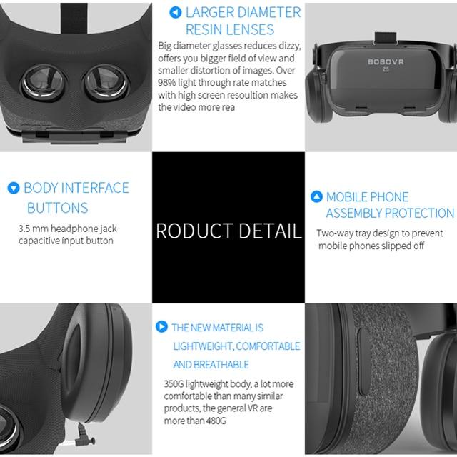 BOBOVR Z5 120 FOV VR Virtual Reality Glasses Remote 3D Android Cardboard VR 3D Headset Stereo Helmet Box for Smartphones 4.7-6.2 5