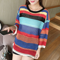 Autumn Winter Women Pullovers Sweater Crayola Long Sleevel Sweaters Rainbow Stripe Hollow-out Knitted Loose Oversized Sweater