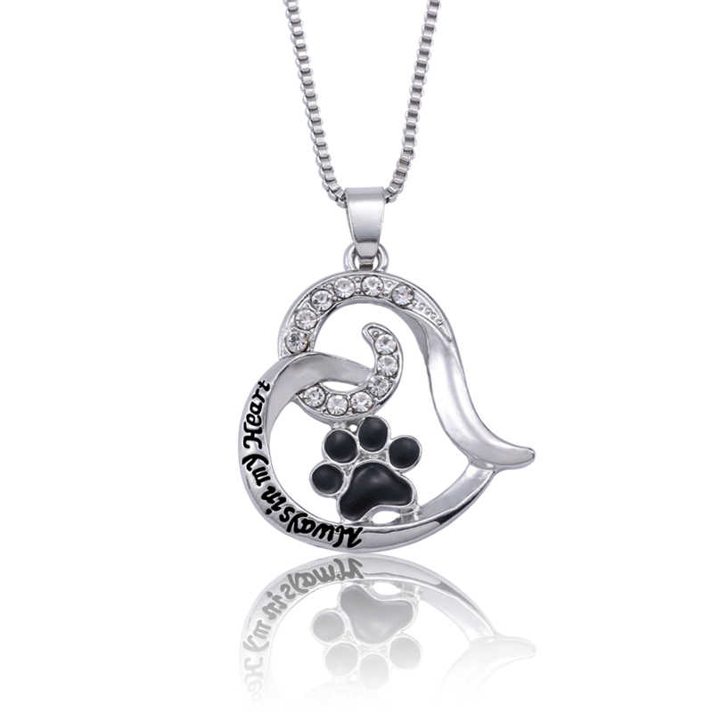 Trendy Pet Dog Claw Love Heart Pendant Necklace Women Carved Always In My Heart Enamel Black Paw Footprint Necklaces Collares