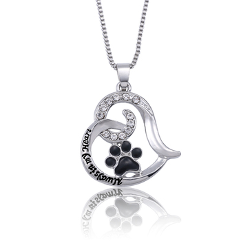Always In My Heart Enamel Black Paw Footprint Pendant and Necklaces