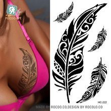HC-222 Body Art Sex Products Black Feathers Shoulder Finger Water Transfer Temporary Fast Flash Fake Tattoos Sticker Taty