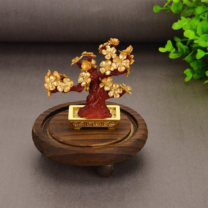 Feng Shui Fortune arbre feuille d'or argent arbre bonsaï bureau table chanceux richesse ornements cadeaux décoration de la maison avec boîte de cadeaux - 5