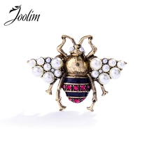 JOOLIM 2017 Vintage Simulated Pearl Bee Pin Brooch Antique Women Costume jewelry Free Shipping