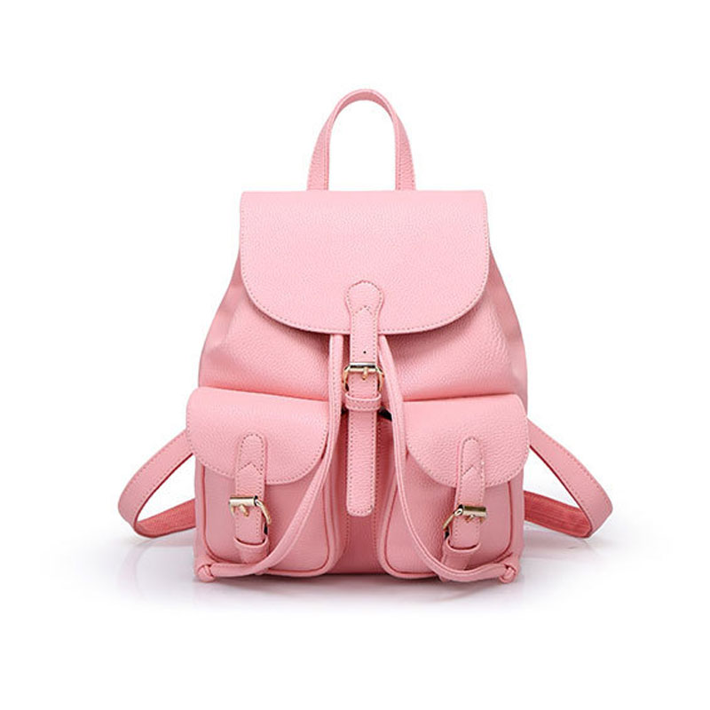 ФОТО Prepply Style Pu Leather Pocket & Buckle Drawstraing Backpacks Korean Style Student Backpack for Women Rucksack Mochila XA236km