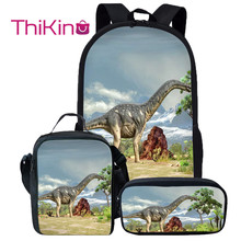 Thikin Dinosaur Backpack for Kids Boys School Combination Bags Preschool Lunchbox pupil Travel Shoulder Bag Women Mochila
