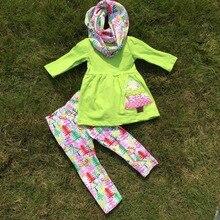 Otoño viste persnickety niñas 3 unidades de la bufanda establece niñas pant navidad setskids árbol de navidad ropa niñas Mint verde sets