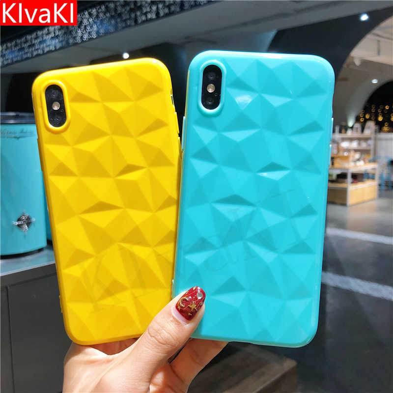 KIvaKI Candy Color Diamond Texture Soft Case For iPhone 6 6s 7 8 Plus X XR XS Max Ultra-thin Cover Geometric Rhombus Phone Cover