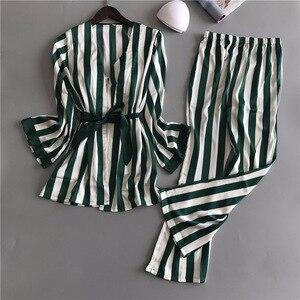 Image 4 - Women Silk Pajamas Sets 3 Pieces Fashion Spaghetti Strap Tops Satin Sleepwear Female Stripes Long Sleeve Home Clothing Pijama
