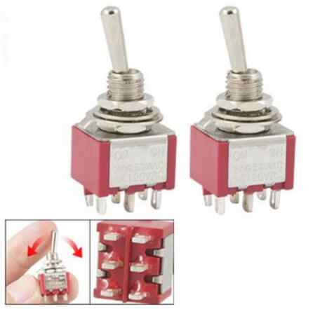 2 Pcs red ON/ON 2 ตำแหน่ง Double Pole Double Throw Toggle Switch 6 PIN MTS-202