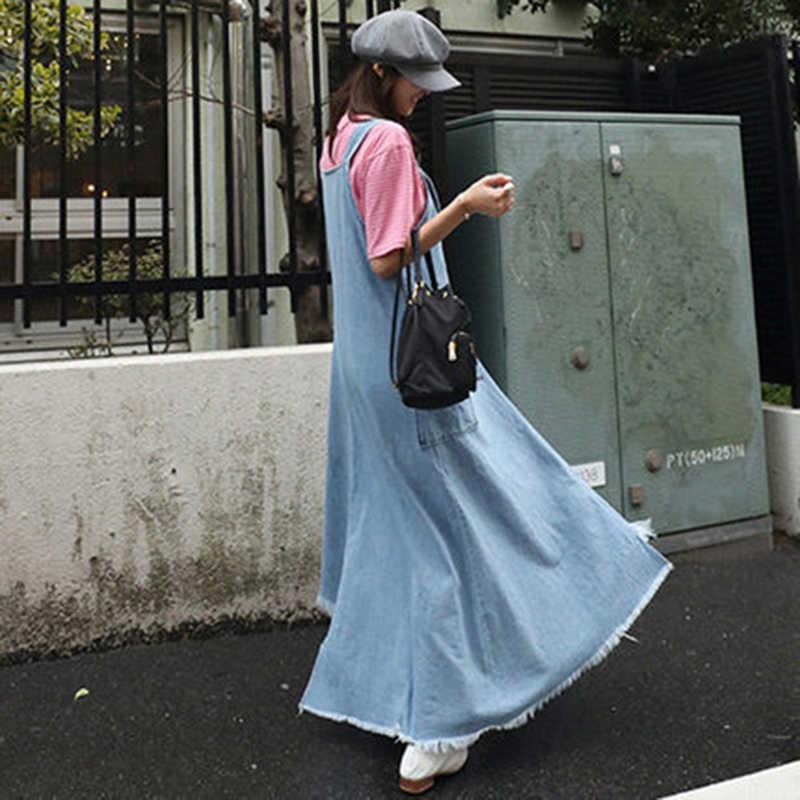 Voobuyla 2019 קיץ סתיו נשים ג 'ינס שמלת ג' ינס שמלה קיצית ללא שרוולים כיס קפלים מקרית Loose ארוך גרבים שמלת Vestido