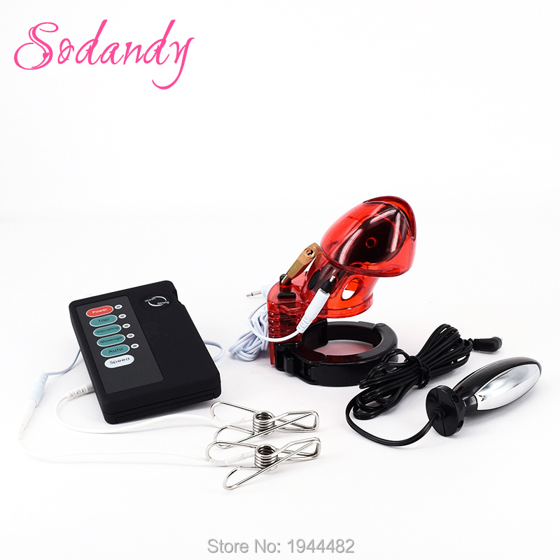 Estim Anal Plug Male Electro Chastity Devices Cock Cage Electric Sex Electrical Stimulation Electric Shock Kit With Nipple Clamp 2 type metal anal plug for choose steel butt plug electric shock leather chastity cage device electro shock sex toys