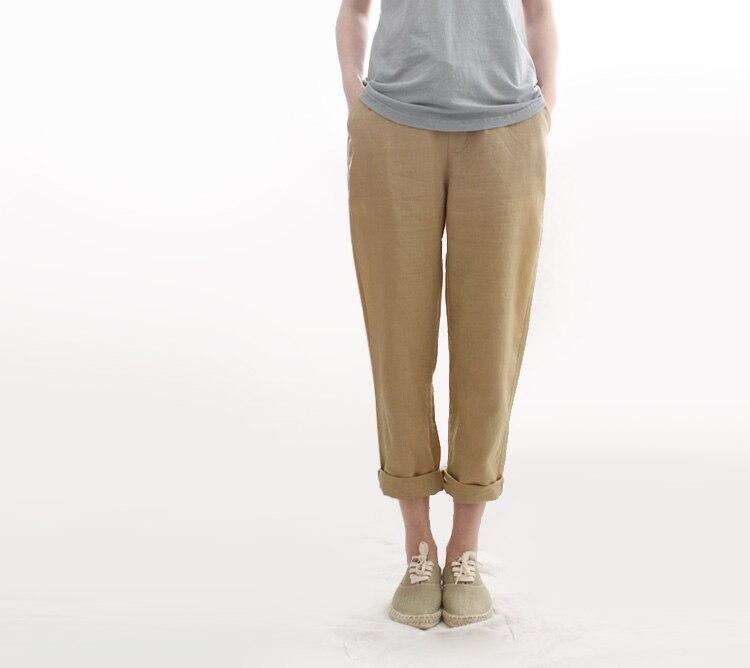 חמה למכירה מכנסיים מקרית 2017 אביב נשים פשתן כותנה נשים מכנסיים צבע טהור מכנסיים שחורים