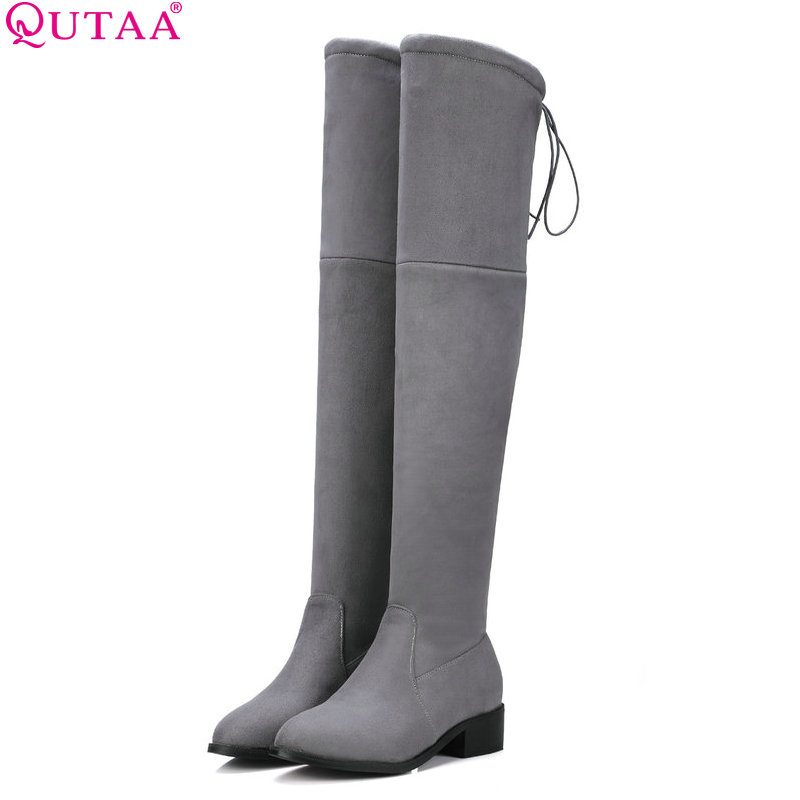 QUTAA 2017 Square Low Heel Woman Stretch Fabric Over The Knee Boots Women Shoes Winter Ladies Motorcycle Boots Size 34-43 vallkin 2018 lace up women boots rhinestone square high heel over the knee boots stretch fabric wedding ladies boots size 34 43