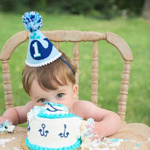 504922ff9 US $3.6 10% OFF|Boys 1st Birthday Blue Whale Party Hat Boys First Birthday  Nautical Felt Party Hat Whale Cake Smash Kids Party Photo Shot Hat-in Party  ...
