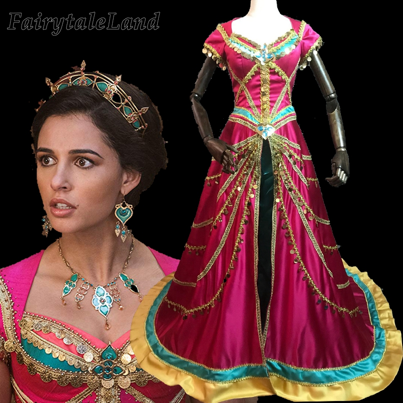 2019 Movie Aladdin Princess Jasmine Cosplay Costume Fancy Dress Halloween Costume Coronation Costume Sequin Coat Long Cloak