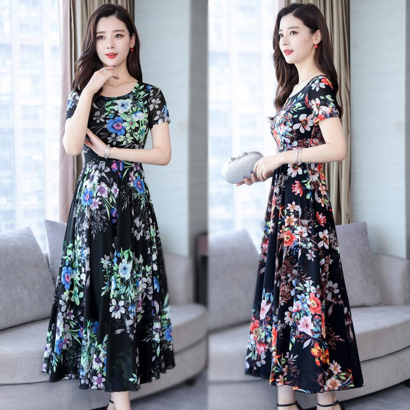 f715617afc949 Flower Print Women Fashion Dress Summer Short Sleeve Boho Beach ...