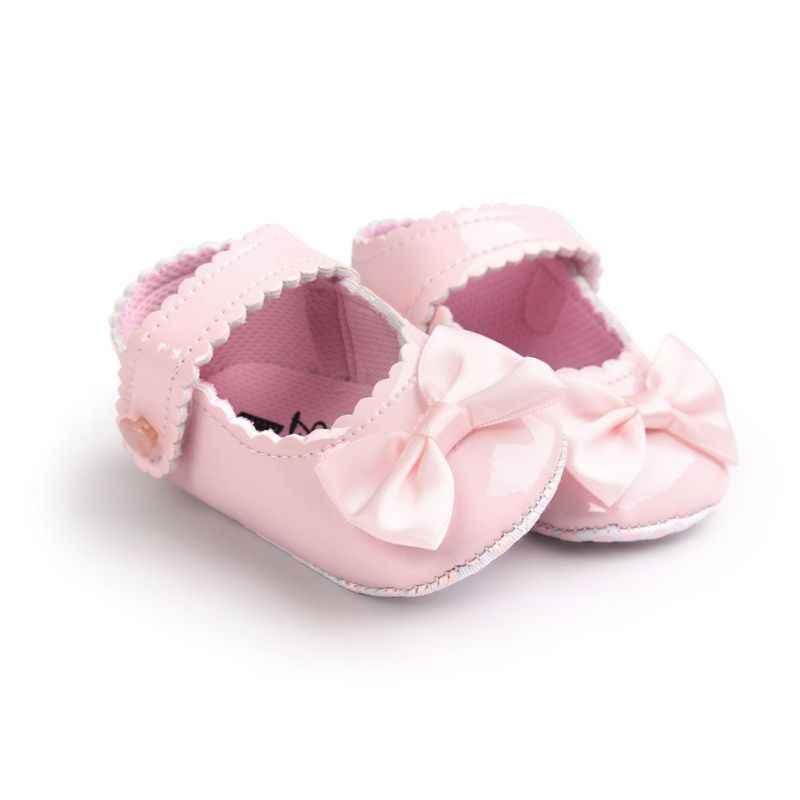 Prinses Baby Schoenen Baby Baby Meisjes Jongens Zachte Zool Ondiepe Pu Leer Babyschoenen Mocassins Boog 0-18 maanden Tq