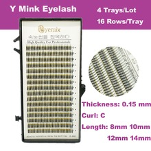 480 Y pcs High Quality Y Eyelash Extension 4 trays/lot Soft Lenght 8mm/10mm/12mm/14mm/ C curl Free Shipping