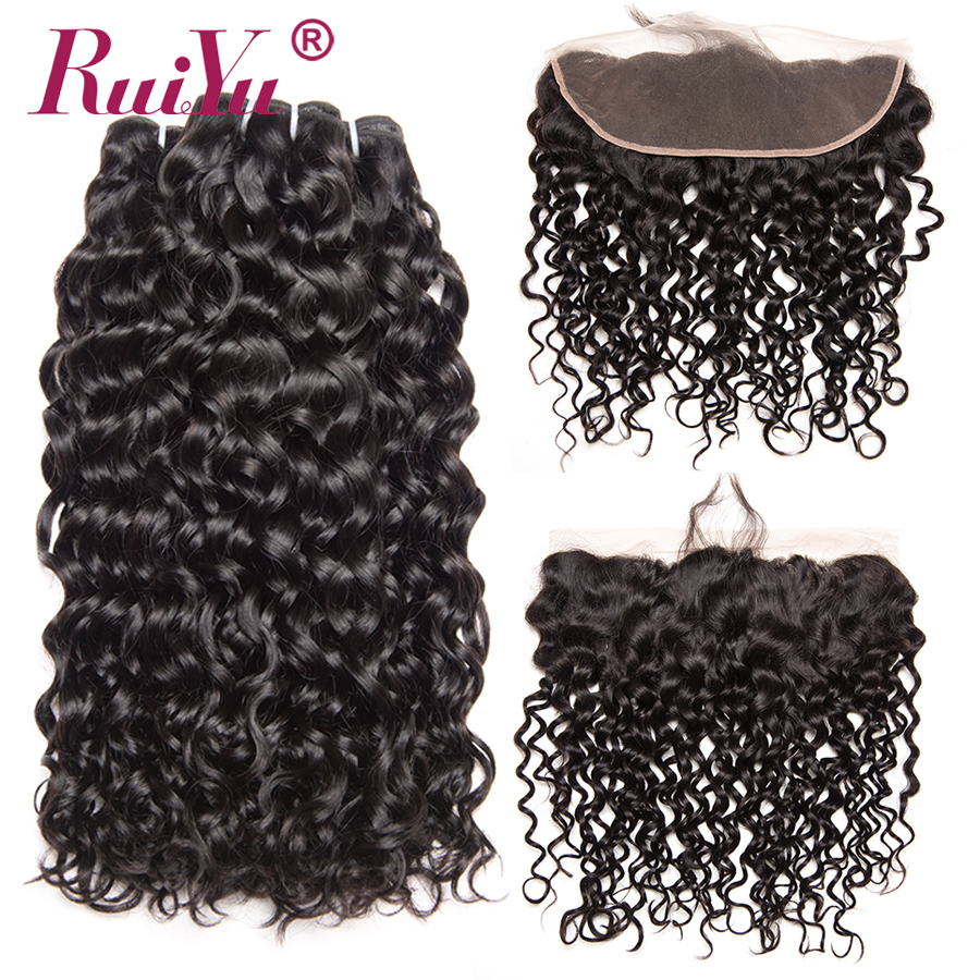 Peruvian Water Wave Bundles With Frontal Closure Non Remy Human Hair Bundles With Closure 3 Bundles