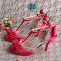 Brand Name Vintage Style Women Sandals Wedding Bridal Shoes Fuchsia Satin 8CM Heel
