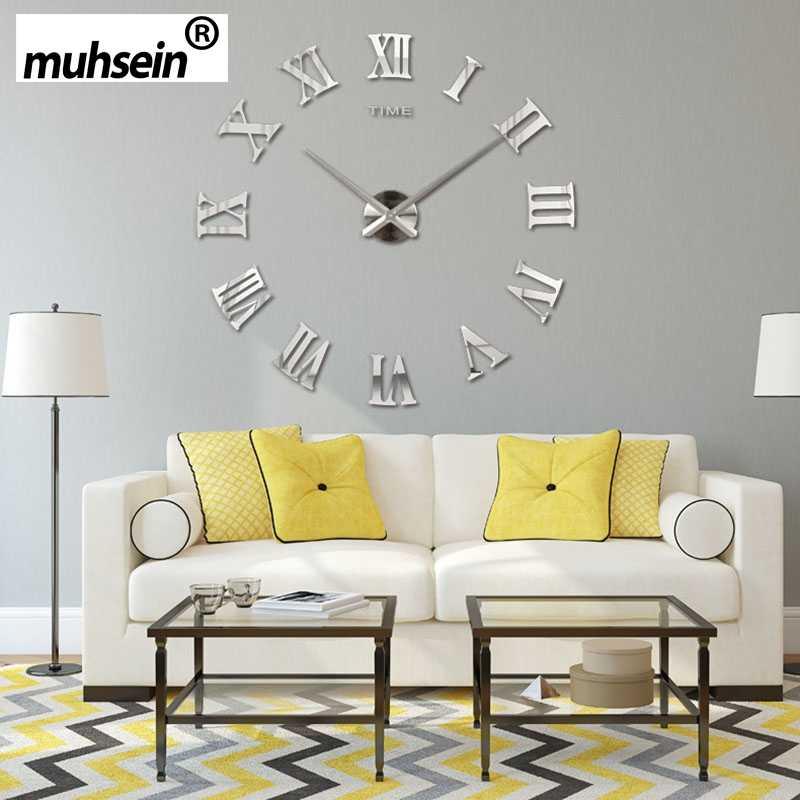 2019 muhsein Römischen Spiegel 3D echt große förderung wohnkultur große Quarz Uhren mode uhren mode moderne Kostenloser Versand