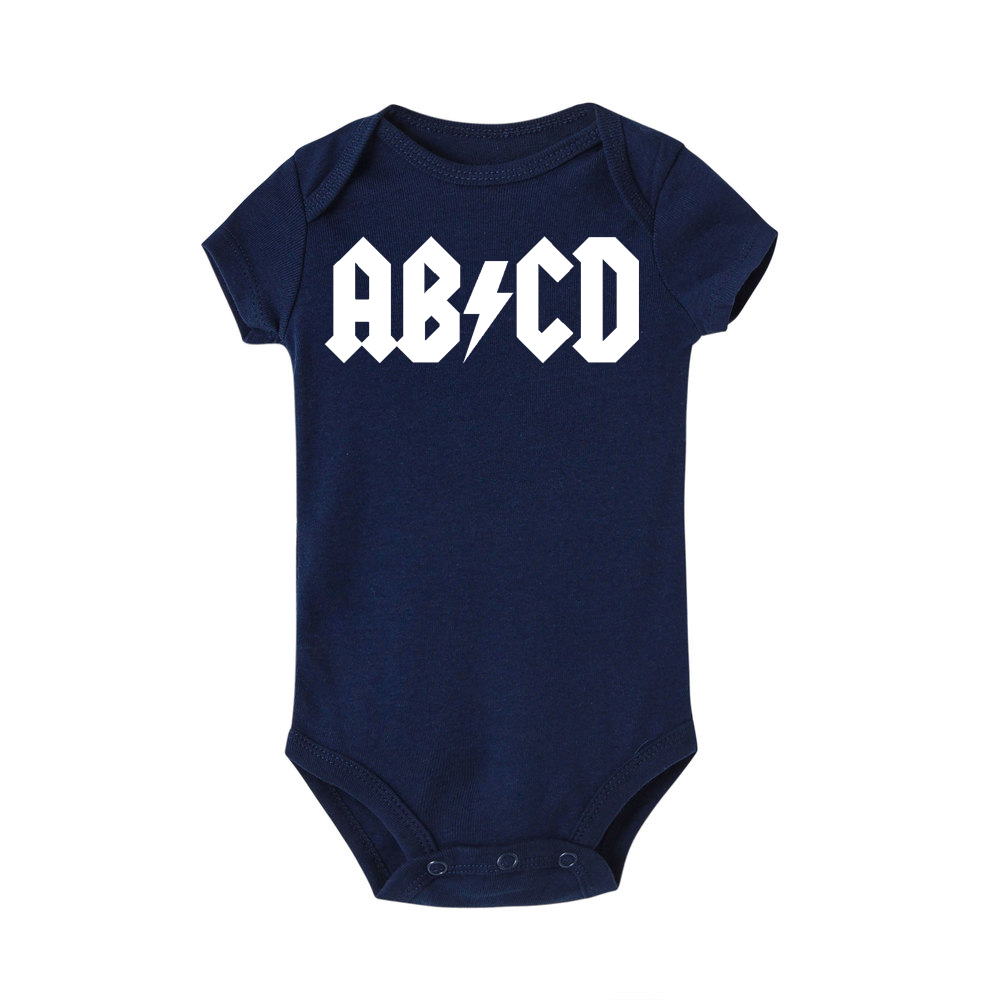 Funny ABCD Letter Print Infant Clothing Rock Acdc Baby Clothes Newborn Boy Girls Ac Dc Romper Jumpsuit Clothing Outfits