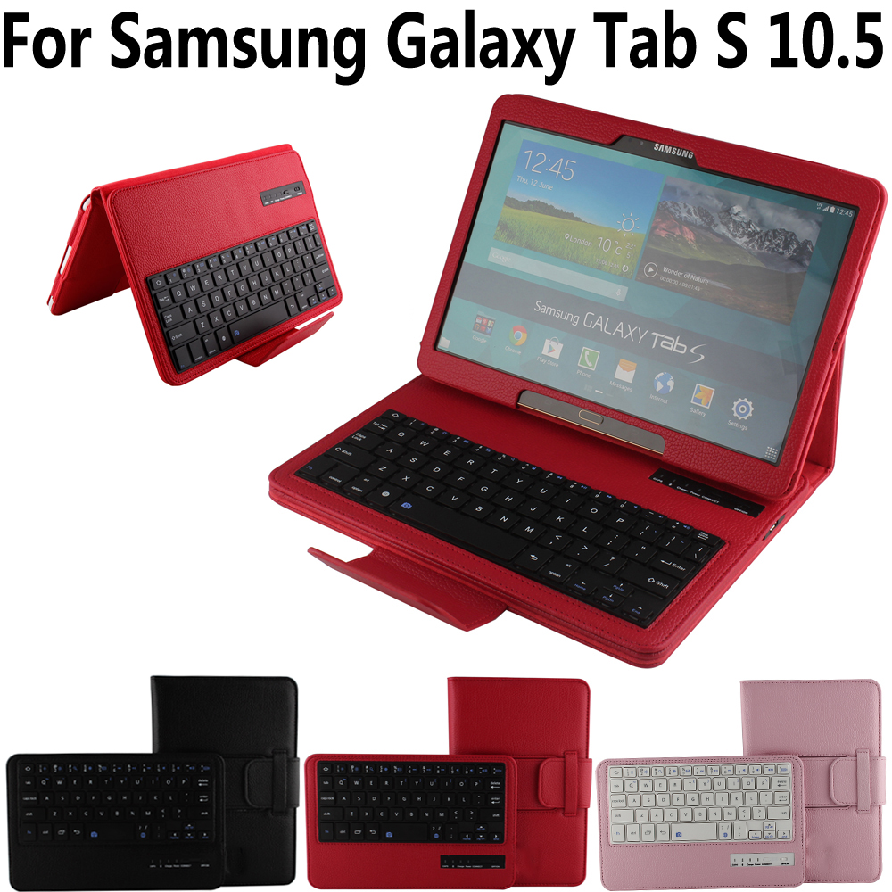 купить Pu Leather Detach Wireless Bluetooth Keyboard Case Cover for Samsung Galaxy Tab S 10.5 SM-T800 T800 T805 Funda Capa with Stylus онлайн