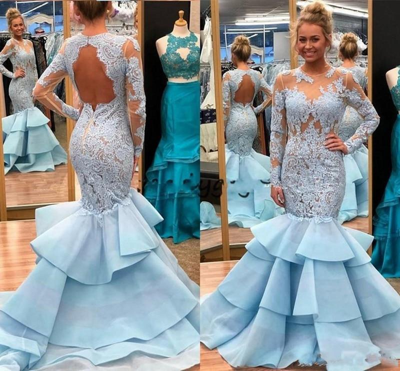 Sexy Light Blue Mermaid   Prom     Dress   Lace Satin Evening Gowns Tiered Ruffles Long Sleeves Hollow Back Plus Szie Vestidos de Fiesta