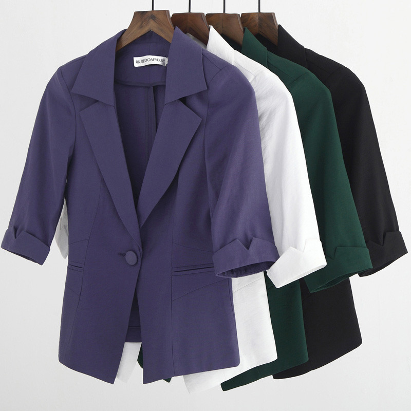 Back To Search Resultswomen's Clothing Elegant Female Summer Thin Suits Plus Size 3xl 4xl 4xl Women Office Blazer Blue Orange Slim Fit Breathable Blazer For Work Ma088 Latest Fashion Blazers