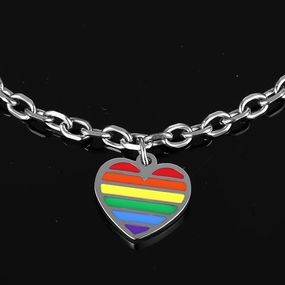 Rainbow Heart Titanium Steel Bracelet