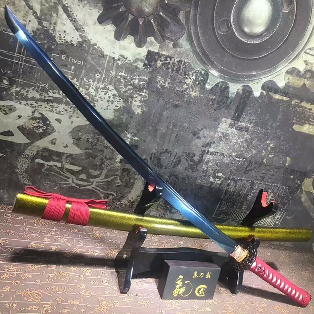 US $123 28 8% OFF|Real Sharp Katana Japanese Samurai Sword Folded Damascus  Steel Bluing Blade Present Brocade Bag Full Tang-in Swords from Home &