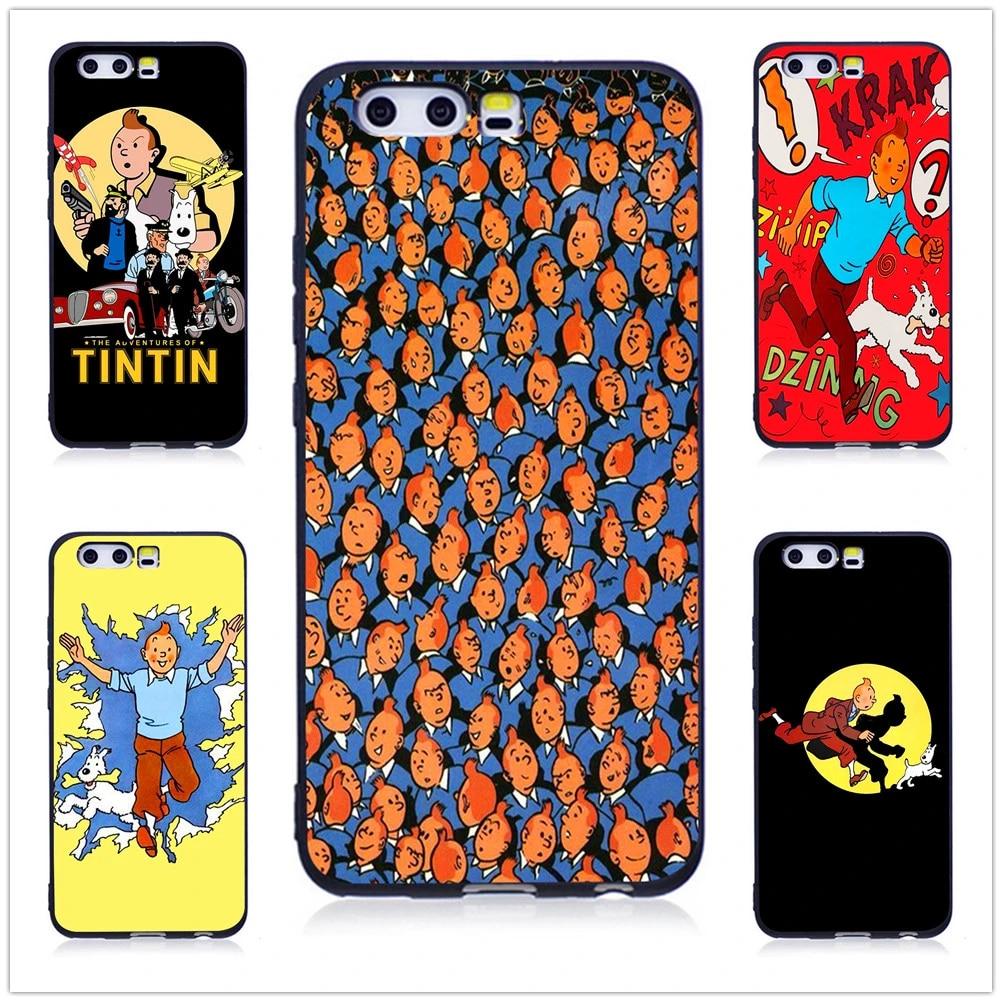 Les aventures de Tintin noir souple Coque de téléphone pour Huawei P10 P20 Lite P9 Lite 2016 housse pour Huawei P8 Lite 2017 Coque