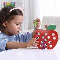 Crianças montessori educacional brinquedo de matemática diversão linha forma de brinquedo de madeira cognize worm comer queijo frutas precoce aprendizagem ajuda de ensino brinquedo