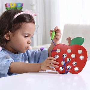 Kids Montessori Educational Math Toy Fun Thread Wooden Toy Shape Cognize Worm Eat Fruit Cheese Early Learning Teaching Aid Toy(China)