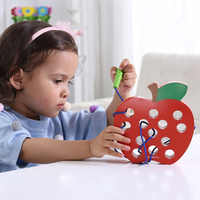 Kids Montessori Educational Toy Fun Thread Wooden Toy Shape Cognize Worm Eat Fruit Apple Cheese Early Learning Teaching Math Toy