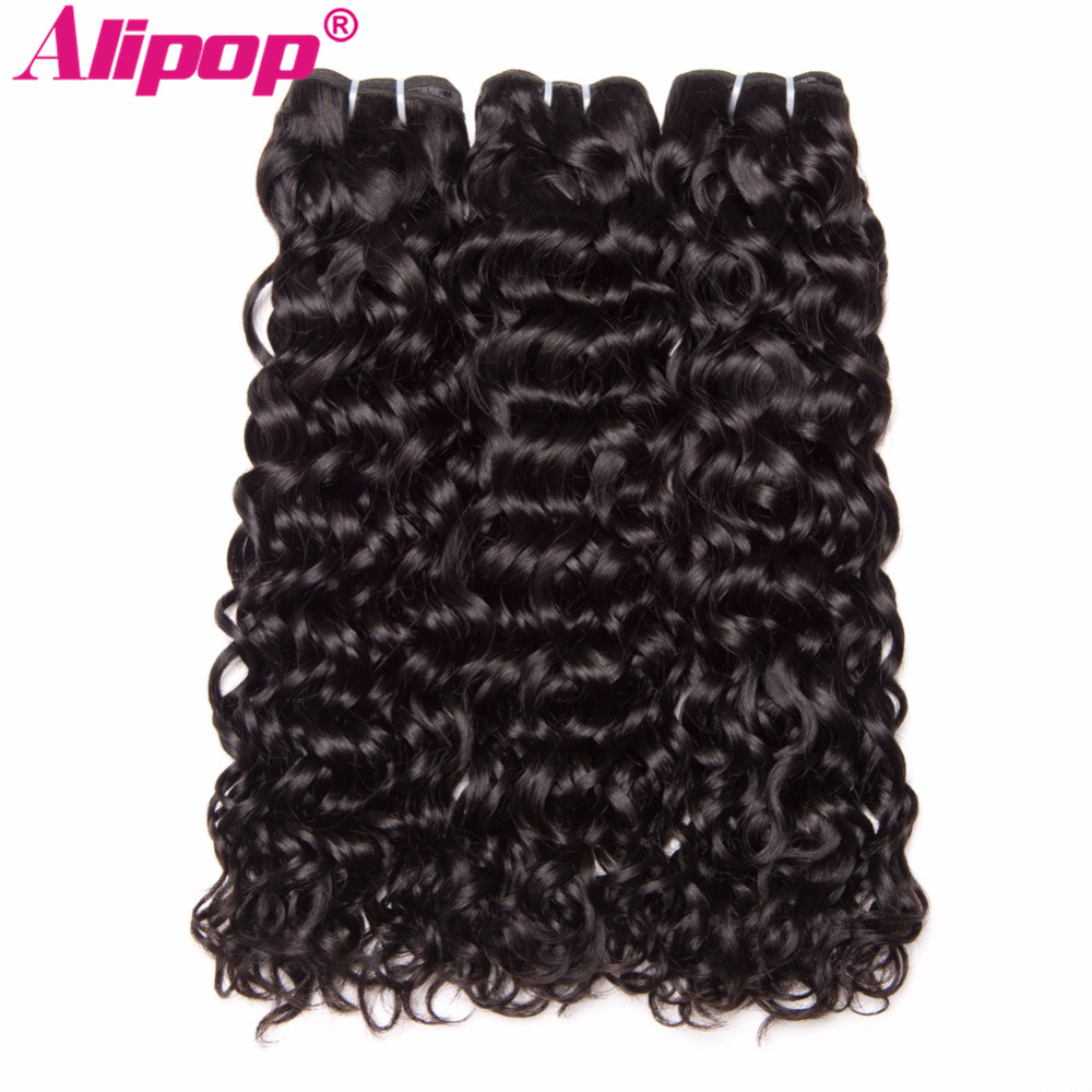 ALIPOP Hair Peruvian Water Wave Bundles Human Hair Bundles NonRemy Human Hair Extensions 1 PC Natural Black Color Can Be Dyed