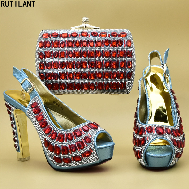 New Fashion African Women Shoes Bags Set 2019 Party Shoes And Bag Set Decorated With Rhinestone Women Shoes And Bag Set In Italy