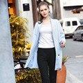 Женщины Плюс Размер L-5XL Повседневная Негабаритных Пальто 2016 Осень Зима С Длинным Рукавом Свободные Повседневная Синий Плащ RS501
